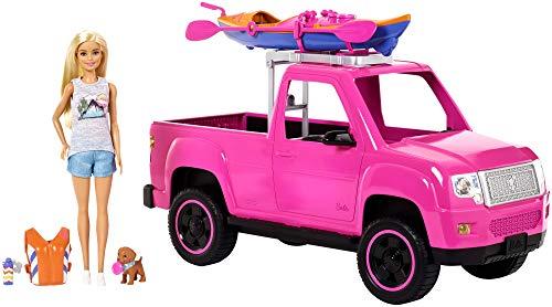 Barbie FNY40 - Camping plezier speelset met truck en kajak incl. pop en honden, poppen en poppenaccessoires vanaf 3 jaar