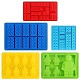 Hileyu 5 Pezzi Stampi per Blocchi di Silicone Stampi per Cioccolato Stampo per Robot in Silicone Costruzione di Mattoni Stampo Stampo per cubetti di Ghiaccio in Silicone Antiaderente (Colore Casuale)