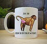 FUNNY MUG'Love You From the Bottom of my Heart' Baboon Butt Gift. Monkey 11 oz. Dishwasher Safe Cute Animal Baboon Mug