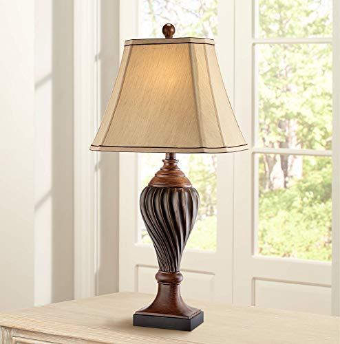 Traditional Table Lamp Carved Two Tone Brown Urn Shaped Beige Fabric Shade for Living Room Family Bedroom Bedside - Regency Hill