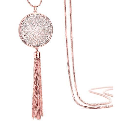 Suyi Long Gland Collier Creuser Disque Cercle Coeur Pull chaîne y Pendentif Collier pour Femmes Round-Rosegold