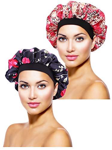 2 Stücke Satin Bonnet Nacht Schlaf Mütze Schlaf Kopf Abdeckung für Damen Mädchen Schlafen (Schwarze Blume Gedruckt, Rosa Blume Gedruckt)