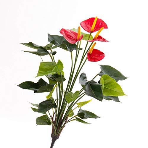 artplants.de Mata de Anthurium Artificial, 23 Hojas, 4 Flores, Rojo, en Vara de Ajuste, Deluxe, 55cm - Planta sintética - Anthurium Decorativo