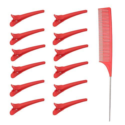 Haarspange Kammsatz, Anself Clips & Kamm-Set, einschließlich 12 Stück Schnittclips + 1 Stück Antistatischer Schwanzkamm, Positionieren von Haarspangen Friseur Frisur Partition Haarfarbe Tools (Rot)