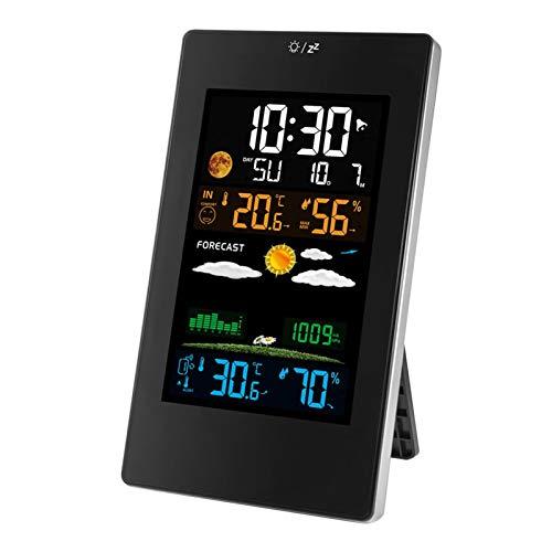 Drahtlose Farbbildschirm-Wetteruhr Innen- und Außentemperatur und Luftfeuchtigkeit Dreikanal-Wetterstation Multifunktionaler elektronischer Wecker