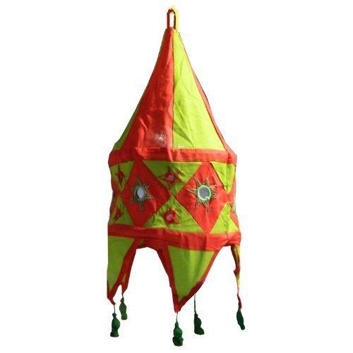 Indischer Lampenschirm grün - rot 48cm Baumwolle Dekolampe Orient Hängelampe