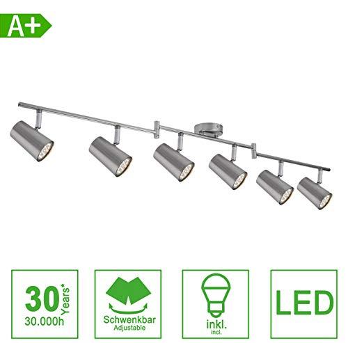 LED Deckenleuchte Spotbalken Schwenkbar inkl. 3W GU10 230V IP20 Metall Warmweiß LED Deckenstrahler, LED Deckenlampe, LED Deckenspot [Energieklasse A+] (6-flammig)