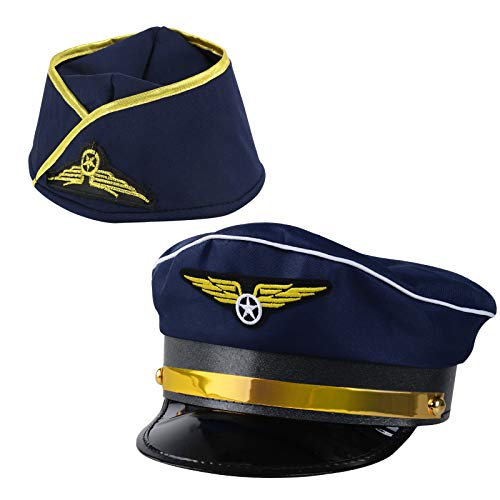 BHGT 1 Stück Pilotenmütze Pilot Mütze und 1 Stück Flugbegleiterin Hut Stewardess Hut Stewardess Cosplay Kostüm Damen Pillbox Hut Damen für Motto Party Karneval Cosplay