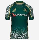 JFIOSD Maillots Rugby, 2021 Australie Maillot De Rugby À Domicile/À L'extérieur, T-Shirts De Rugby À Sept De L'équipe Nationale Australienne,D'entraînement Polos À Manches Courtes Brodés Hommes