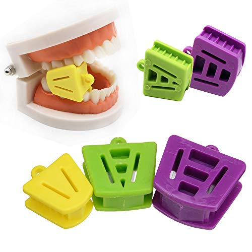 6 Pack Multicolored Silicone Dental Mouth Prop Orthodontic Mouth Bite Blocks Cheek Retractor Small Medium Large