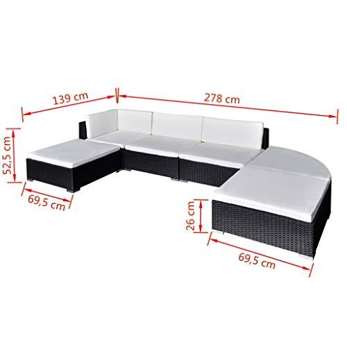 Benkeg Set Muebles De Jardín 6 Piezas Y Cojines Ratán Sintético Negro, Conjunto De Comedor De Jardín De Ratán Conjunto De Muebles De Jardín Conjunto De Sofás De Jardín