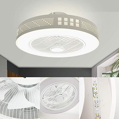 Ventilador de Techo con Luz Lámpara LED 45W Ventilador Invisible Plafon Control Remoto con Mando a Distancia Luz Regulable Luz Fría/Neutra/Cálida Luces Regulable