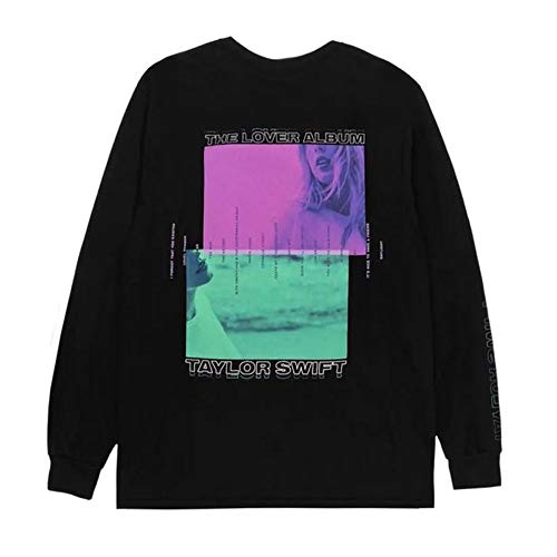 HEJX T-Shirt Girocollo Manica Lunga Taylor Swift Lover Black-XL