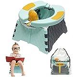 Yockmocki Asiento de entrenamiento portátil para niños pequeños | Asiento de inodoro plegable | Orinal de emergencia móvil para niños | Asiento de baño para niños y niñas (azul)