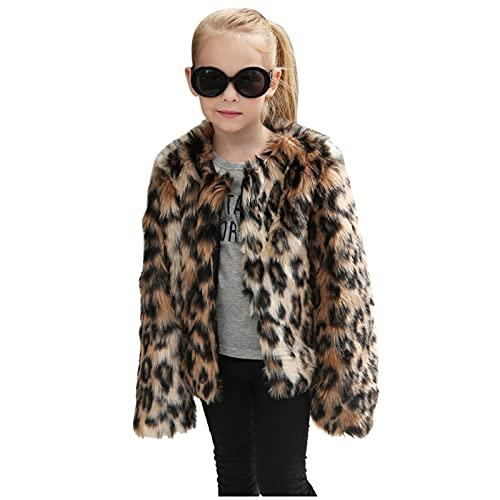 YOYORI Kids Baby Girls Faux-Fur Clothes Coat - Children Fleece Leopard Print Jacket Thick Warm Autumn Winter Outwear (Coffee, 2-3 Years)