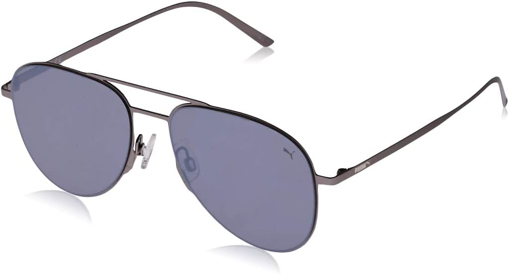 Puma Men's PU0160S PU0160S-001 57 Aviator Sunglasses, Silver, 57 mm
