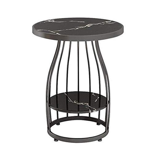 GAOLIM Table d'appoint Salon 2 Niveaux Marbre Petite Table Ronde Canapé Table d'angle Table De Téléphone Table De Chevet Chambre Balcon Table Basse, 19,6 `` & Times; 24,8 '' (Couleur: Noir)