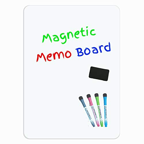Magnetic Dry Erase Whiteboard Sheet for Fridge - Refrigerator White Board Organizer - Memo Board - Reminder Notice - Menu Shopping List Planner - Includes 4 Markers and Big Eraser with Magnets