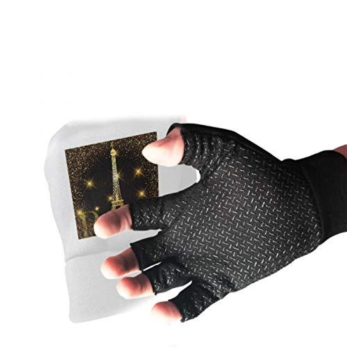 Paris Gold Eiffel Tower Gym Gloves Anti Slip Shock Fingerless Fishing Gloves Absorbing Padded Breathable Fingerless Gloves Men Split Finger Gloves Fingerless for Women&Men