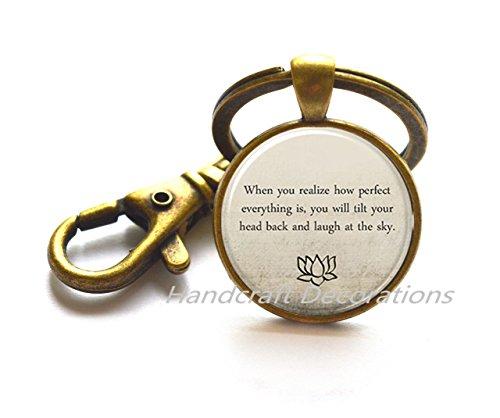 Buddha Quote Keychain, Motivational Wisdom Key Ring, Inspirational Yoga Jewelry,Inspirational Quote Keychain.F006
