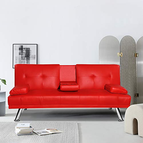 Goujxcy Convertible Futon Sofa Bed, Faux Leather Recliner Sleeper Couch with Removable Armrest & 2 Cup Holders, Metal Leg, Red
