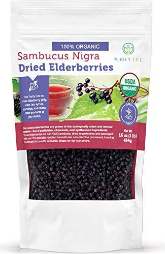 USDA Organic Dried Elderberries - 1lb Bulk - All Natural, Free Of Chemicals, non-GMO, Whole Black Elderberry Immune System Support Booster For Making Syrup, Gummies, Jelly, Tea, and Wine - Raw, Vegan, Sambucus Nigra Elder berry