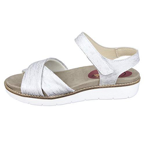 Cómoda Sandalia Mujer para Plantillas extraibles Color Plata Ideal para Esta Temporada Primavera - Verano 2019 para pies delicados Anchos Especiales 00071 (38 EU)
