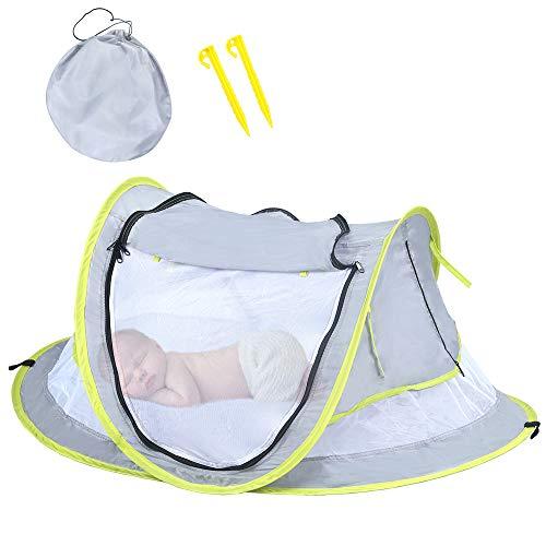 Cama de viaje portátil para bebé, tienda de campaña de playa para bebé, UPF 50 +, malla de mosquitera, parasol para tienda de campaña, babero de playa.