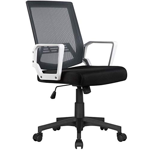YAHEETECH Mid Back Mesh Office Desk Chair Computer Chair, Adjustable Executive Chair with Lumbar Support, Rolling Chair for Adult, Teens Grey