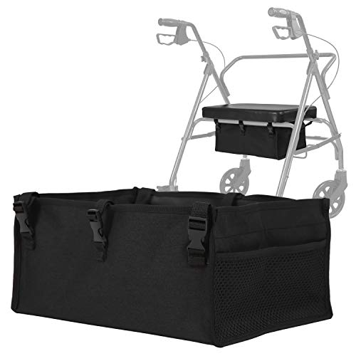Vive Rollator Seat Bag - Walker Tote Accessories for Underseat - Fabric Storage Organizer Attachment - Large Adjustable Pouch for Carrying Items - Reusable Basket Carry Insert for Women, Men, Seniors