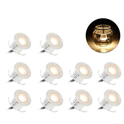 Lixada Recessed LED Deck Light Kit In Ground Outdoor Landscape Light IP67 Waterproof Low Voltage for Outdoor Yard Garden Steps Stair Patio Floor Pool Deck Kitchen Decoration-10 Pack-Warm White