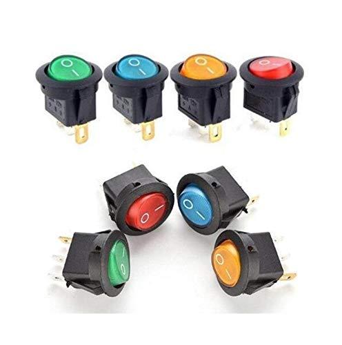 YSHSPED Interruptores de Palanca 5PCS 12V 220V LED illuminuted Interruptor basculante 20A 12V pulsador de botón Interruptor de Las Luces del Coche en la luz del Interruptor ON/Off Ronda