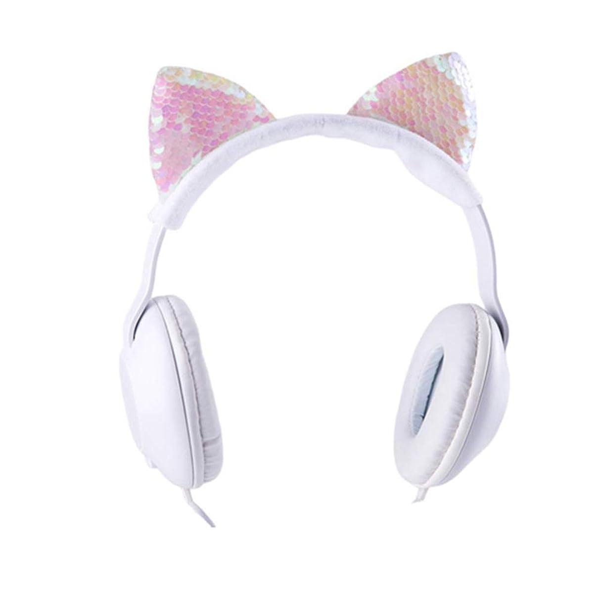 圧縮熟達した従来のLioncorek 猫耳ヘッドホン ネコ耳 かわいい イヤホン ワイヤレス マイク内蔵 折り畳み式 音量制御 聴力保護 高音質 スパンコール キラキラ 軽量 耐久 遮音 開放型ヘッドフォン 柔軟 ゲーム用 コンパクト 対応性(ピンク)