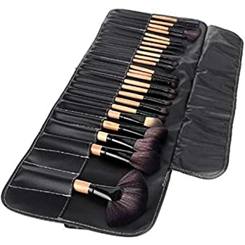 Makeup Brush Set with PU Leather Case(Pack of 24) black