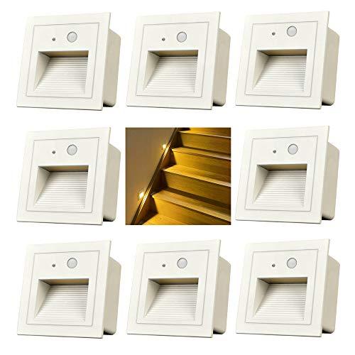Wandeinbauleuchte aussen LED Treppenlicht Wandleuchte mit Bewegungsmelder Quadratische LED Treppenbeleuchtung Stufenbeleuchtung Stufenleuchte, Aluminium, 230V 3W (weiß, 8er Set)