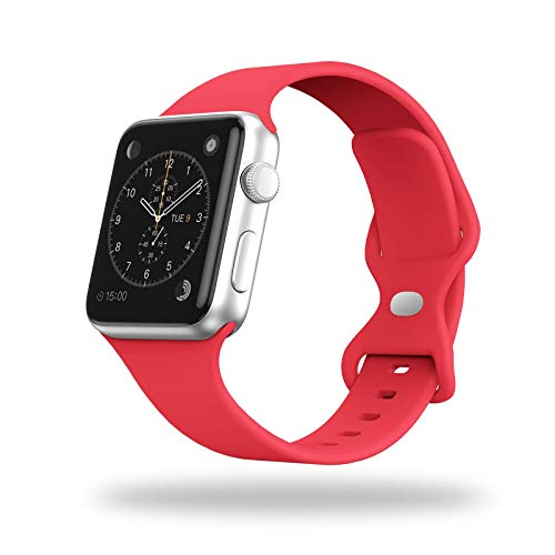 STG Smart Watch Band Compatible with Apple Watch Band 38mm 40mm 42mm 44mm, Soft Silicone Replacement Sport Strap Compatible for iWatch SE Series 6/5/4/3/2/1 (42/44mm, Red)