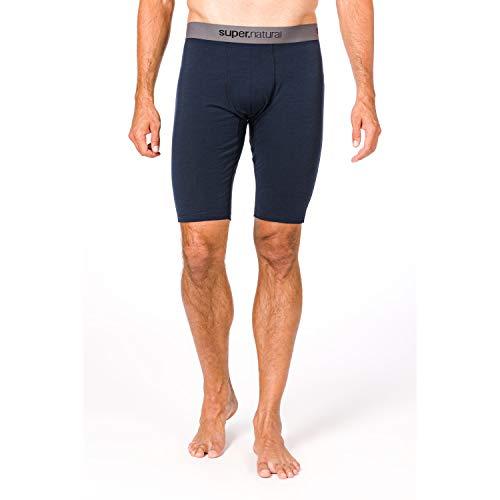 Super.natural Caleçon Court Homme, Laine mérinos, M BASE SHORT TIGHT 175, Taille : M, Couleur : Bleu foncé