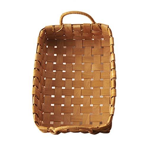 Cesta tejida cuadrada hecha a mano de serrín, cesta de pan, cesta de almacenamiento de alimentos, cesta de picnic de frutas (tamaño: L)