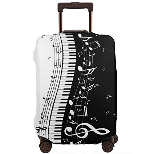Foruidea Black White Music Notes Piano Travel Luggage Cover Baggage Suitcase protector Fits 18-32 Inch Washable Elastic Bag(L(Fits 25'-28'Luggage))