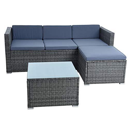 ESTEXO rotan lounge zitgroep polyrotan tuinmeubelen set bank 3-zits rotan meubels sofa set eettafel tuinset balkon set antraciet-grijs.