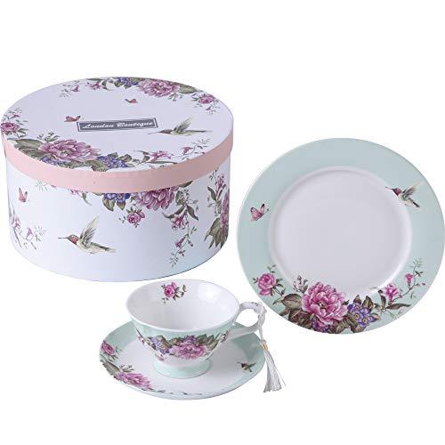 Juego de taza de té con plato y plato de postre de 19 cm, estilo vintage inglés, en porcelana, con motivos de flores, pájaros, mariposas, con caja de regalo., cerámica, Turquesa, 11x8cm