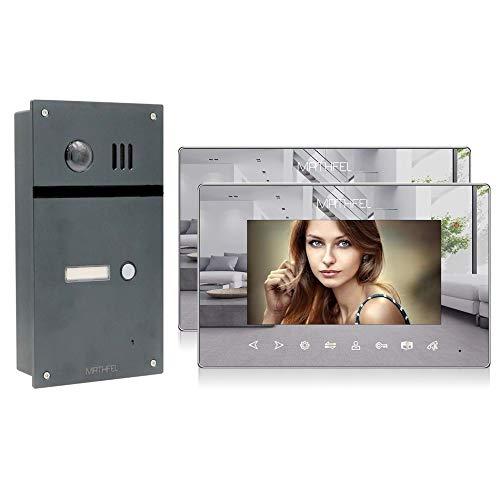 Preisvergleich Produktbild 2 Draht Video Fingerprint Türsprechanlage Gegensprechanlage Fischaugenkamera 170 Grad Anthrazit Außenstation,  Größe: 2x7'' Monitor Spiegel