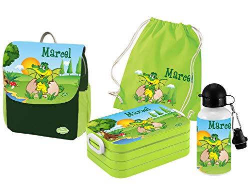 Mein Zwergenland - Brotdosen Sets für Kinder in Dino, Größe Rucksack einzeln