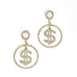 B-Gold Dollar Sign Crystal Drop Dangle Earrings