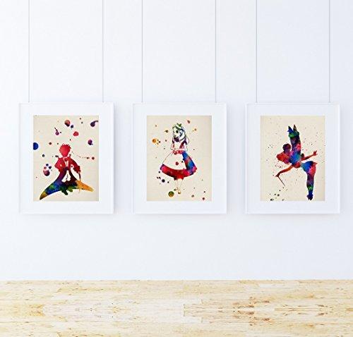 Nacnic Pack de láminas para enmarcar MIS Cuentos. Posters Estilo Acuarela con imágenes de Cuentos Infantiles. Decoración de hogar. Láminas para enmarcar. Papel 250 Gramos