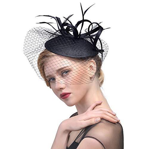 FHKGCD Velo De Encaje Sombreros De Tul Sombreros De Flores Sombrero De Lujo Sombrero De Fieltro De Mujer Sombrero De Fieltro De Plumas Chapeau, Negro,