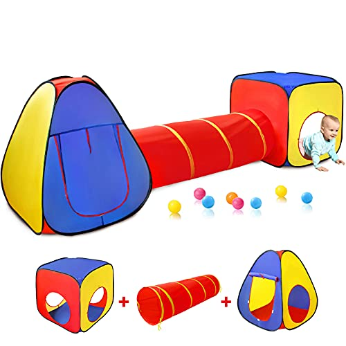 Kids Play Tent with Ball Pit+Crawl Tunnel+Castle Tent, Pop Up Toddlers Playhouse for Boys and Girls Gift, Collapsible Children Play Tent Toy Indoor and Outdoor Games (Colorful Fort)