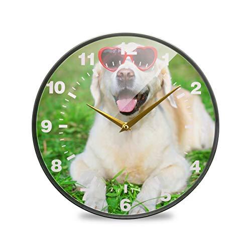 ISAOA Wanduhr, 30 cm, Nicht tickend, batteriebetrieben, Golden Retriever, Hund in Sonnenbrille, arabische Ziffern, leise, Dekoration für Schlafzimmer, Wohnzimmer, Schule, Büro