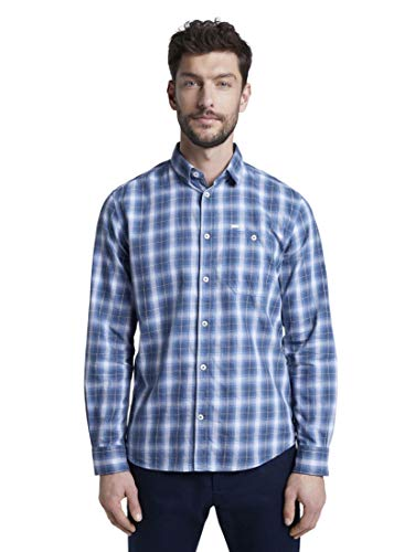 TOM TAILOR Herren Ray Check Hemd, Blau ( 22467 ) , XL