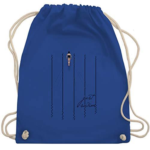 Shirtracer Wassersport - Just swim - Unisize - Royalblau - turnbeutel hellblau - WM110 - Turnbeutel und Stoffbeutel aus Baumwolle